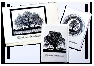 Trauerkarten DIN A6 / Gerne drucken wir für Sie eine ganz persönliche Traueranzeige oder Danksagung inkl. Text.